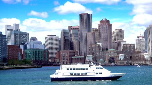 Boston Skyline Establishing Shot as Seen from Boston Inner Harbor video
