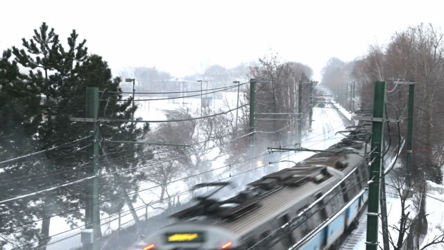 Boston Subway Train in a Snowstorm video
