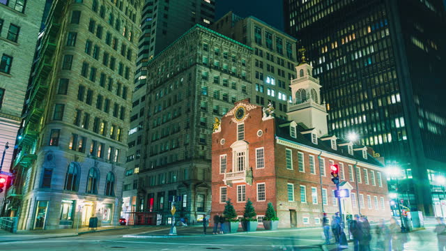 Boston,United States Nov 24 2019: 4K UHD boston Time Lapse footage of Old State House and transportation  of the downtown financial district. crowd Tourist travel visiting   American urban travel city concept