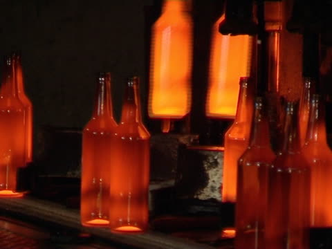 Bottle manufacturing technology in industrial factory. video