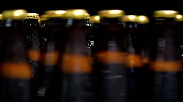 Bottles of beer go through the conveyor - video