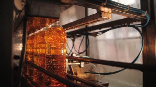 vídeos y material grabado en eventos de stock de botellas de aceite de girasol moviéndose a través del oleoducto - aleación