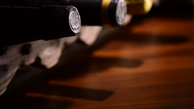 Bottles of wine, cava and champagne in a cellar video