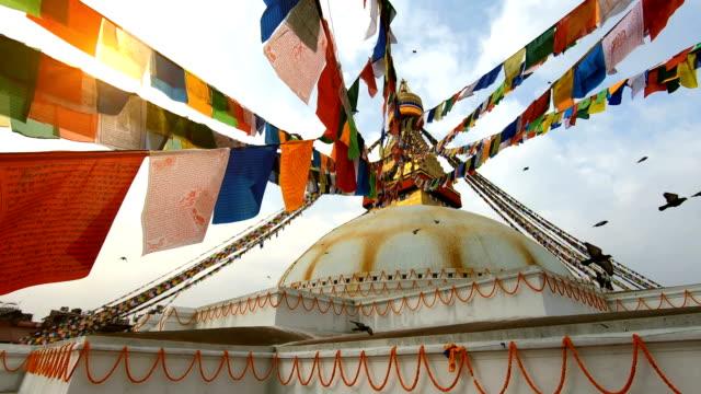 katmandu, nepal boudhanath stupa - stupa stok videoları ve detay görüntü çekimi