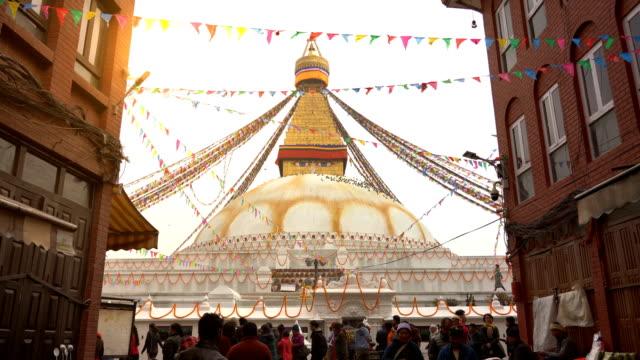 katmandu boudhanath stupa ,nepal - stupa stok videoları ve detay görüntü çekimi