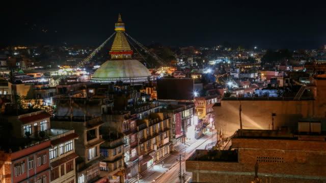 Boudhanath Stupa Nightime Time-lapse: Kathmandu, Nepal video
