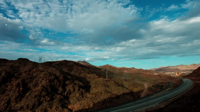Boulder City Nevada with new freeway being built near Hoover Dam video
