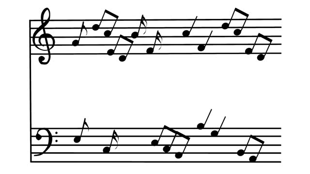 Bounce notes on sheet music, 3D rendering