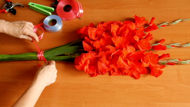 Bouquet composition of gladioluses. video