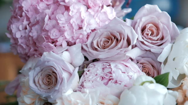 Bouquet freshly made of hydrangea, roses and peonies