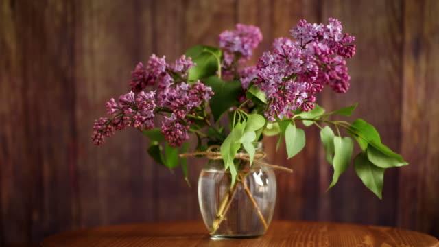 유리 꽃병에 아름다운 피어링 라일락의 꽃다발 - thank you background 스톡 비디오 및 b-롤 화면