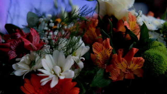 bouquet of orange, white and red colors with greens - bouquet video stock e b–roll