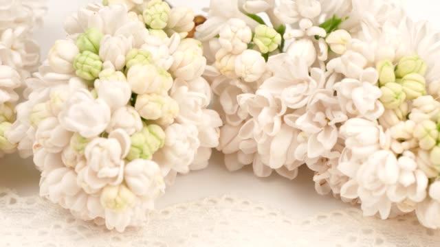 bukett av vit lila på en vit spets. rotation. - blomsterarrangemang bildbanksvideor och videomaterial från bakom kulisserna