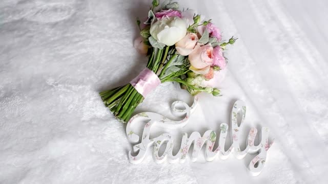 Bouquet with white and pink peonies video