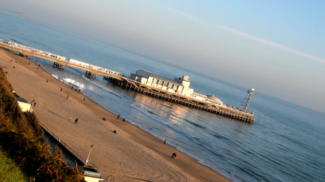 Bournemouth Pier and beach at an angle video