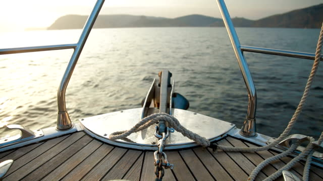 Bow of Sailing Yacht video