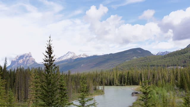 Bow River Landscape Panorama in Summer, Alberta, Canada