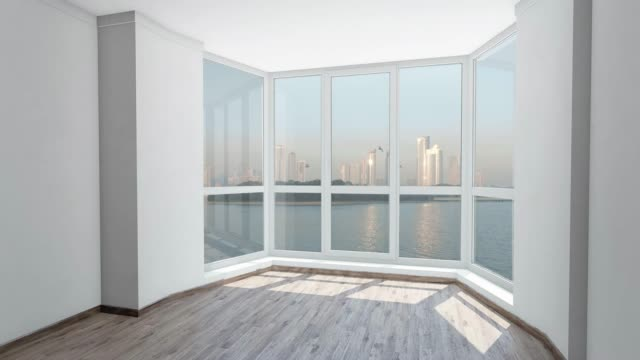Bow window with view on island with skyscrapers in city and birds flying in sky. Background Plate, Chroma Key Video Background Bow window in bright room with view on island with modern skyscrapers in city and birds flying in sky. Background plate, chroma key video background bay window stock videos & royalty-free footage