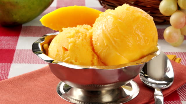 A bowl of delicious mango sherbet A bowl of delicious mango sherbet with fresh mango slices mango stock videos & royalty-free footage