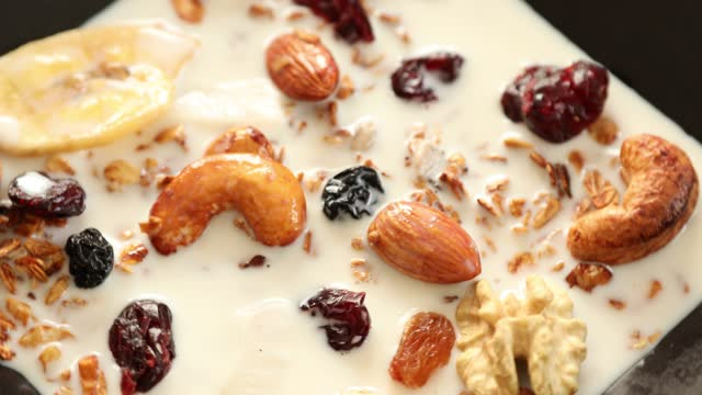Bowl Of Granola Cereal With Nuts And Dried Fruits 15 Healthy homemade granola with assorted nuts and dried fruits rotating frühstück stock videos & royalty-free footage