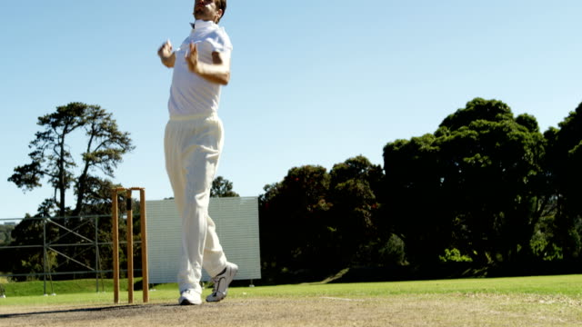 Bowler delivering ball and appealing during cricket match video