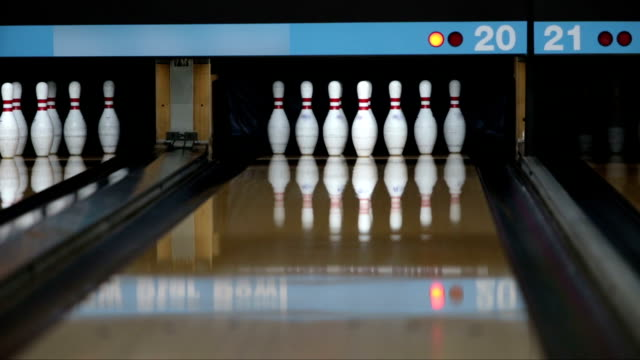 Bowler playing bowling and make a strike video