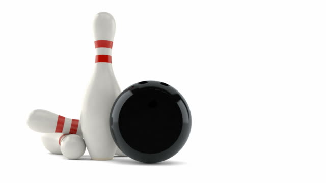 Bowling pins with bowling ball video