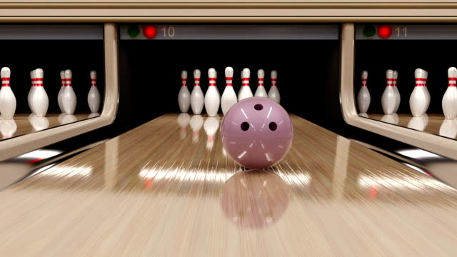 Bowling strike. 3D render. video