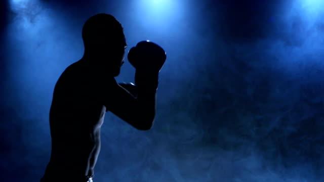 ボクサーは、スポーツでその機能を発揮します。シルエット。スタジオ - ボクシング点の映像素材/bロール