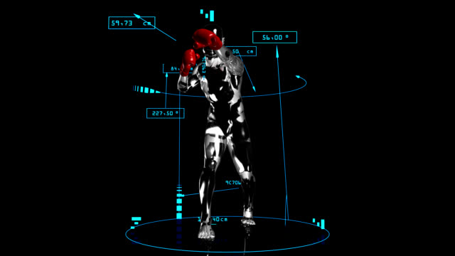 3D boxer man with technical data