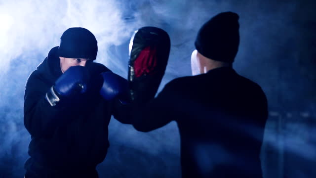 boxer shadow boxing as exercise for the big fight. video