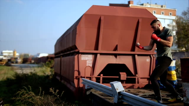 Boxer training outdoors on a train wagon video