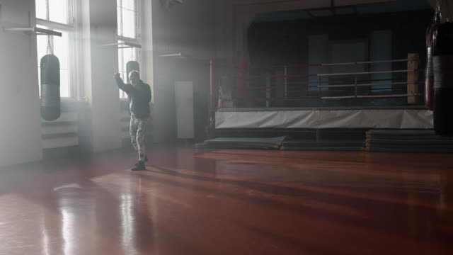 Boxer training. Shadowboxing. video
