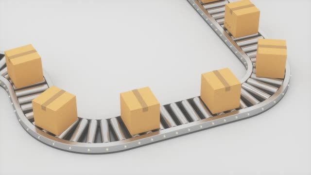 Boxes moving on the conveyor belt, 3d rendering.