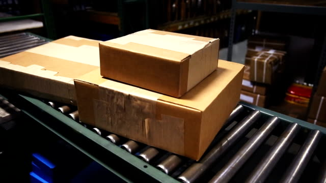 Boxes on Conveyor Belt video
