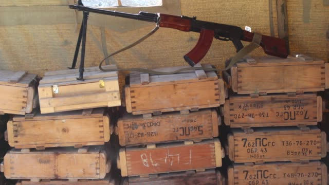 Boxes With Weapons And Ammunition In A Military Camp video