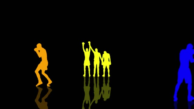 Boxing and kickboxing people colorful silhouettes moving towards the camera. Seamlessly loopable animation video