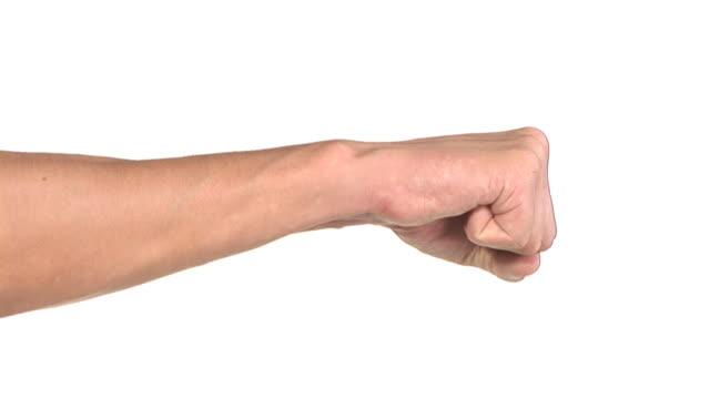 ciclo hd: gesto di pugilato - colpire con un pugno video stock e b–roll