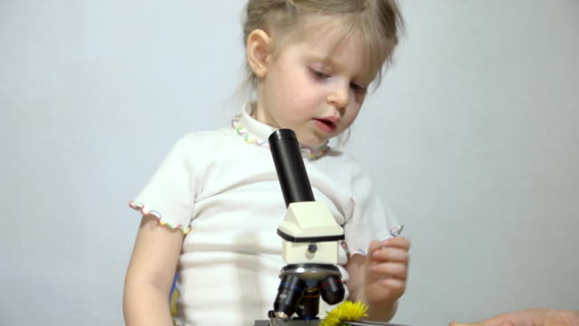 A boy and a little girl are examined under a microscope. video
