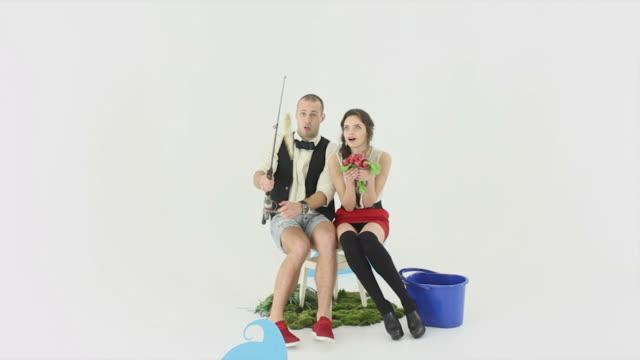 Boy and girl fishing. Full Length shot. video