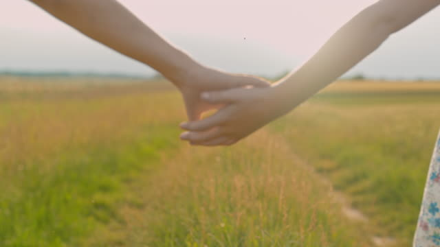 ms boy and girl walking,holding hands in sunny idyllic rural field - soft focus video stock e b–roll