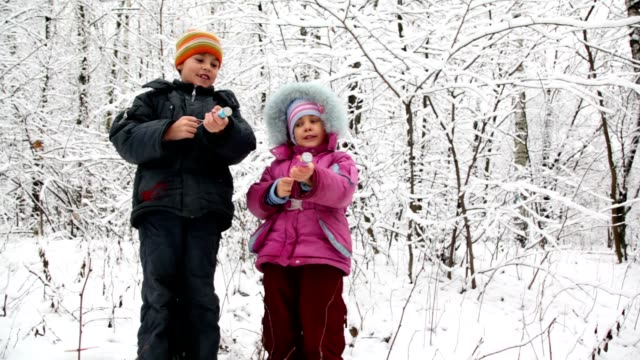 Boy and girl with petards in snow forest Cheerful boy and little girl with petards in hands in snow forest petard stock videos & royalty-free footage