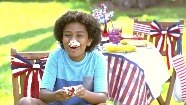 boy at july fourth picnic enjoying cupcake - memorial day стоковые видео и кадры b-roll