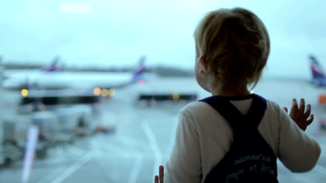 Boy at the airport. video