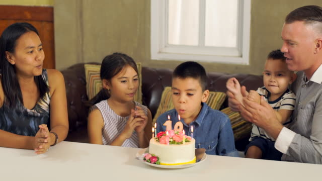 Boy Blowing Out Candles On Cake video