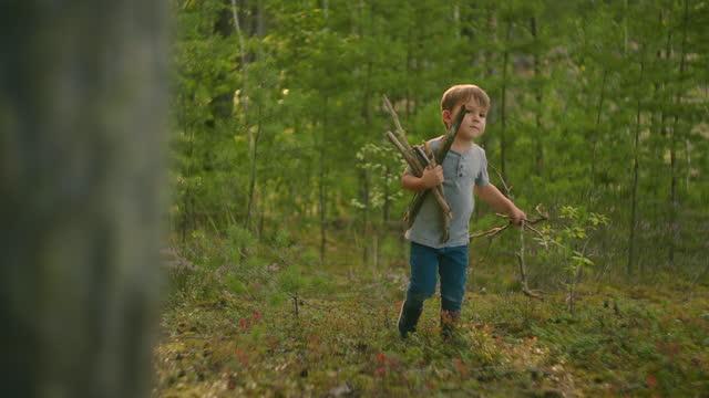 bir çocuk bir yürüyüş sırasında kamp ateşi için sopa toplar ve giyer. pişirme ve marshmallow kızartma için orman caster - şömine odunu stok videoları ve detay görüntü çekimi