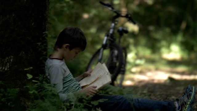 boy cyclist reading book near tree in forest video