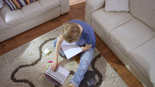 LD Boy doing his schoolwork at home using a laptop