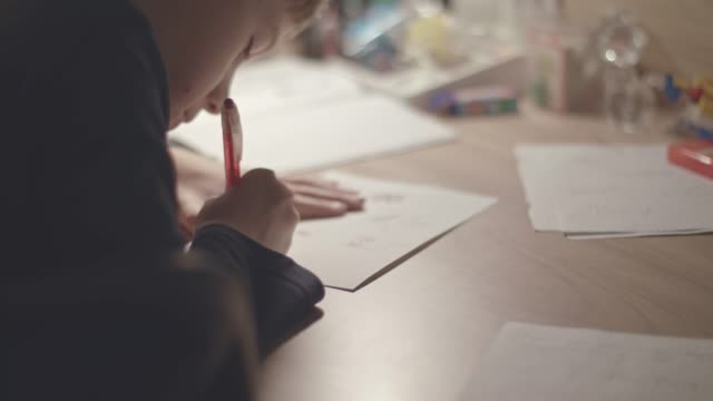 boy drawing at home - school supplies stock videos and b-roll footage