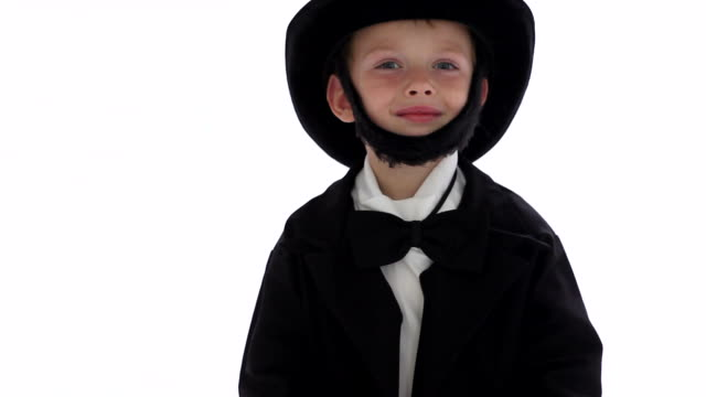Boy dressed up like Abraham Lincoln video